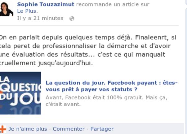 facebook : les entreprises doivent payer.